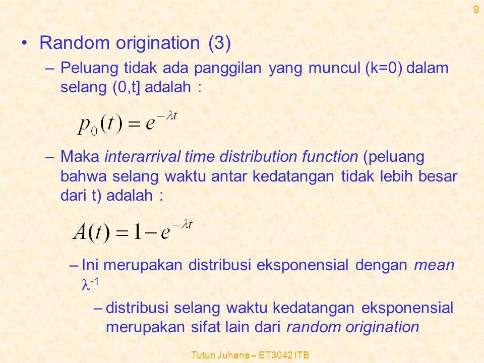 Random origination (3) Peluang tidak ada panggilan yang muncul (k=0) dalam selang (0,t] adalah :